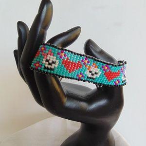 Handmade Sugar Skull Loom Bracelet